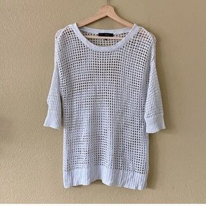 Heart Soul Large Knit Sweater White 3/4 Sleeves